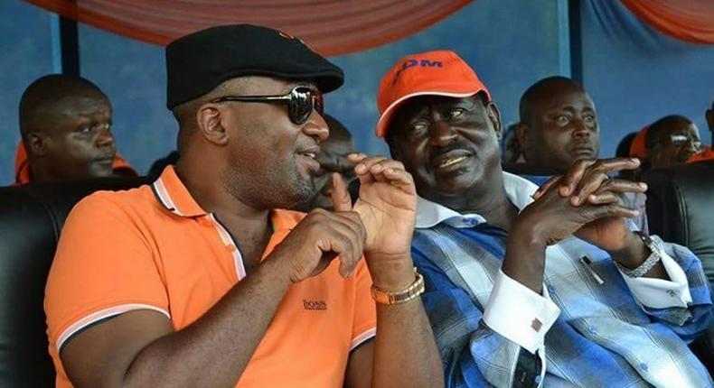 Mombasa Governor Hassan Joho with Nasa leader Raila Odinga.