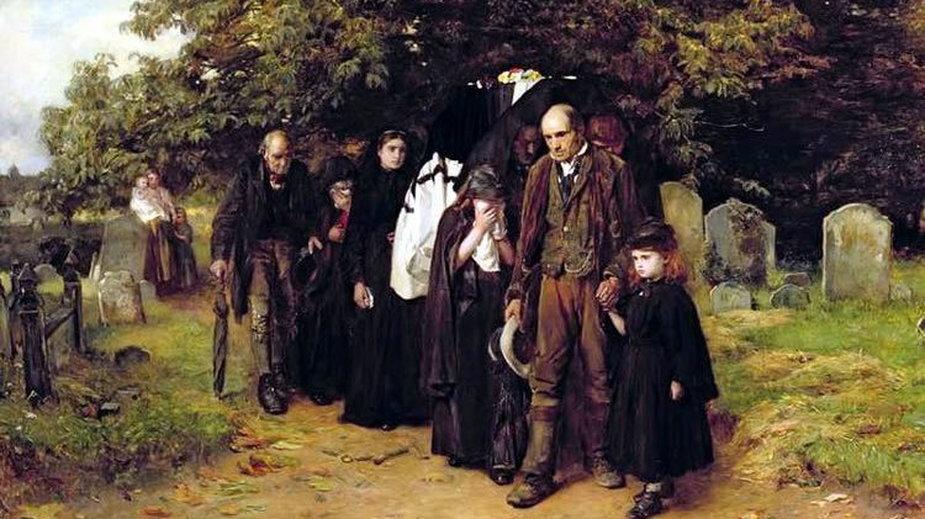 Angielski wiejski pogrzeb na obrazie Franka Holla