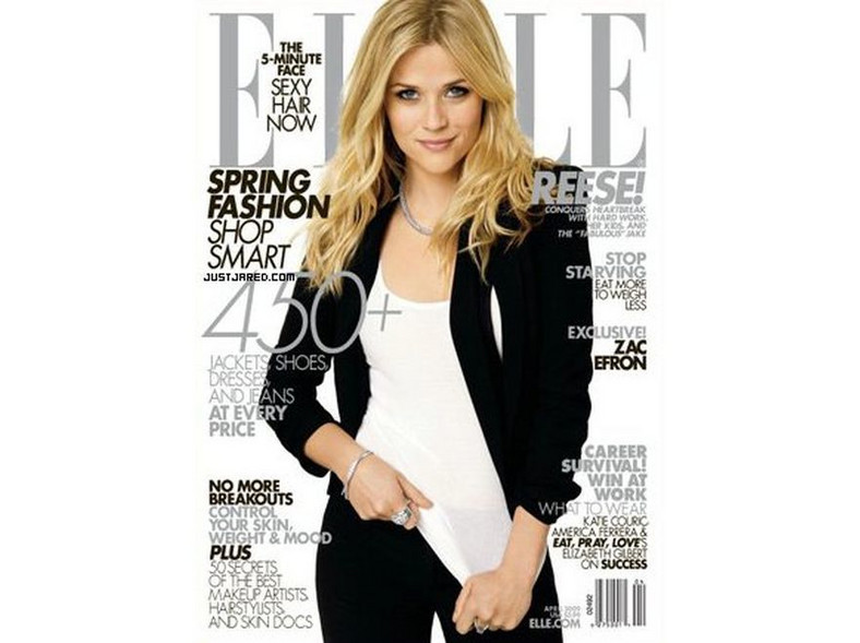 Reese Witherspoon na okładce Elle, kwiecień 2009