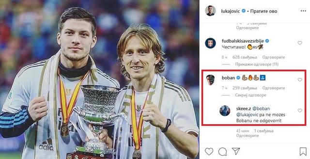 Podrška Joviću i deo komentara na fotografiju sa Modrićem