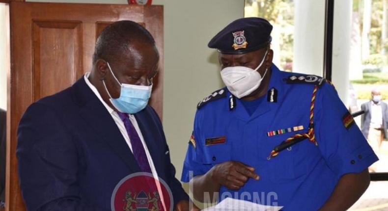 Interior CS Fred Matiangi with Inspector General Hillary Mutyambai