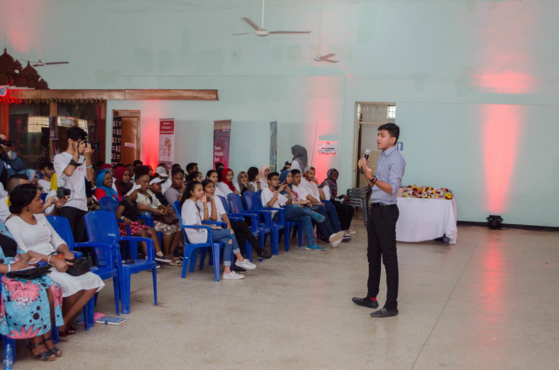 Diana Award Winner - Ziyaan Virji speaking at a past event. (courtesy)