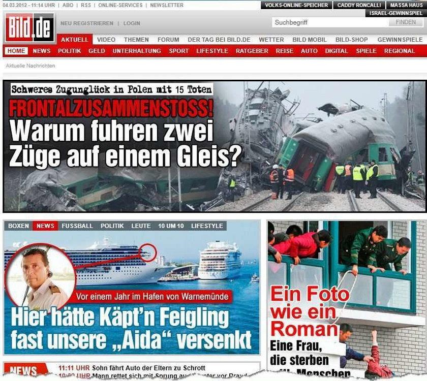 Świat o katastrofie pociągów pod Zawierciem