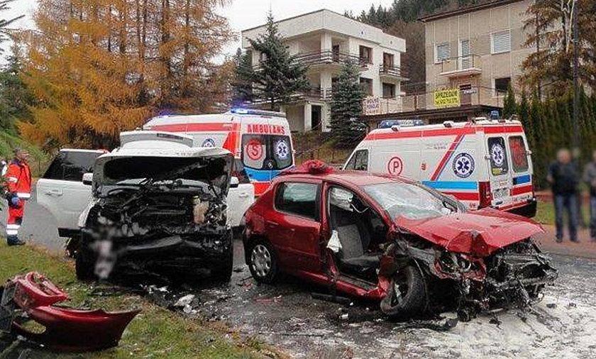 Zderzenie samochodów w Muszynie