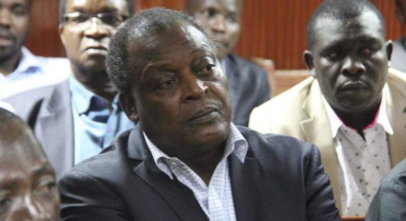 Ex-Lugari MP Cyrus Jirongo when he appeared before court on Thursady. He was ordred to pay Sh5 million or be remanded