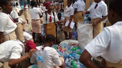 Volunteers' innovative recycling competition rewarded school learners with laptops