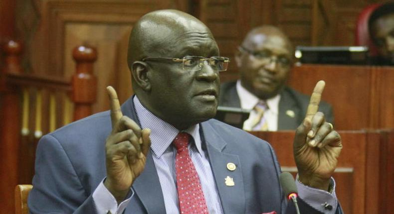 Education CS George Magoha when he was vetted for the cabinet position
