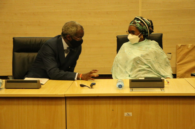 Mr Babatunde Fashola, Minister of Works and Housing and Finance and National Planning Minister, Zainab Usman . [Twitter/@FMWHNIG]