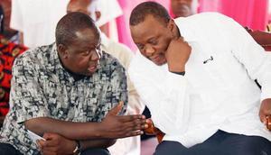 File image of President Uhuru Kenyatta and Interior Cabinet Secretary Fred Matiang'i at a past meeting in Mombasa