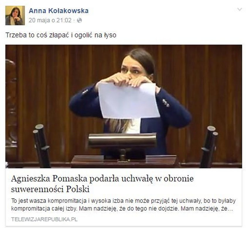 Obraźliwy wpis radnej PiS Anny Kołakowskiej na temat Agnieszki Pomaskiej