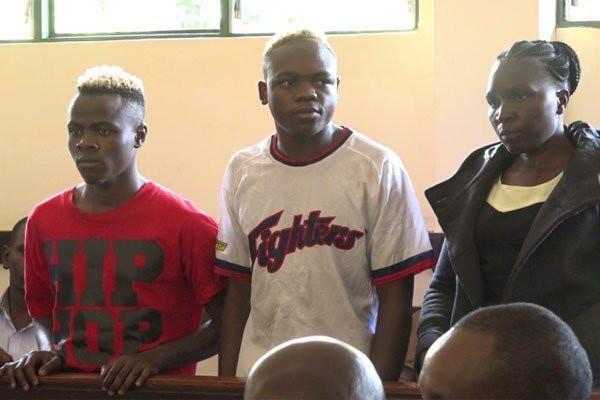 Joseph Ochieng (L), Rogers Namukura (C) and Mary Amollo Olisa (R) the three suspects being held in connection to the murder of Murang'a warder Pauline Wangari