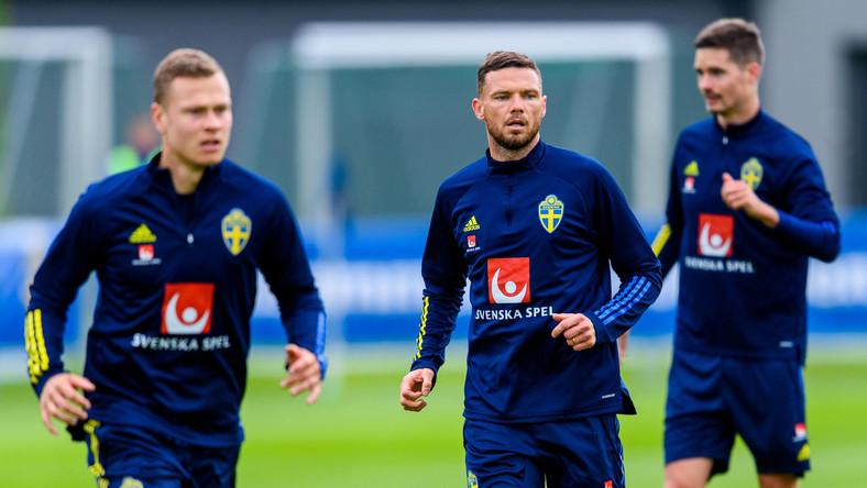 Viktor Claesson, Marcus Berg i Mikael Lustig na treningu reprezentacji Szwecji