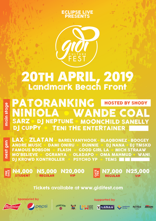 The line up of artists for the 2019 edition of Gidifest [Eclipse]