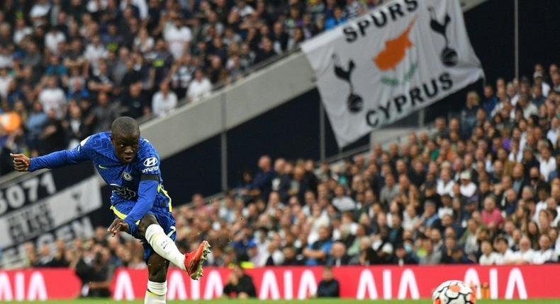 Chelsea midfielder N'Golo Kante scores against Tottenham Creator: JUSTIN TALLIS