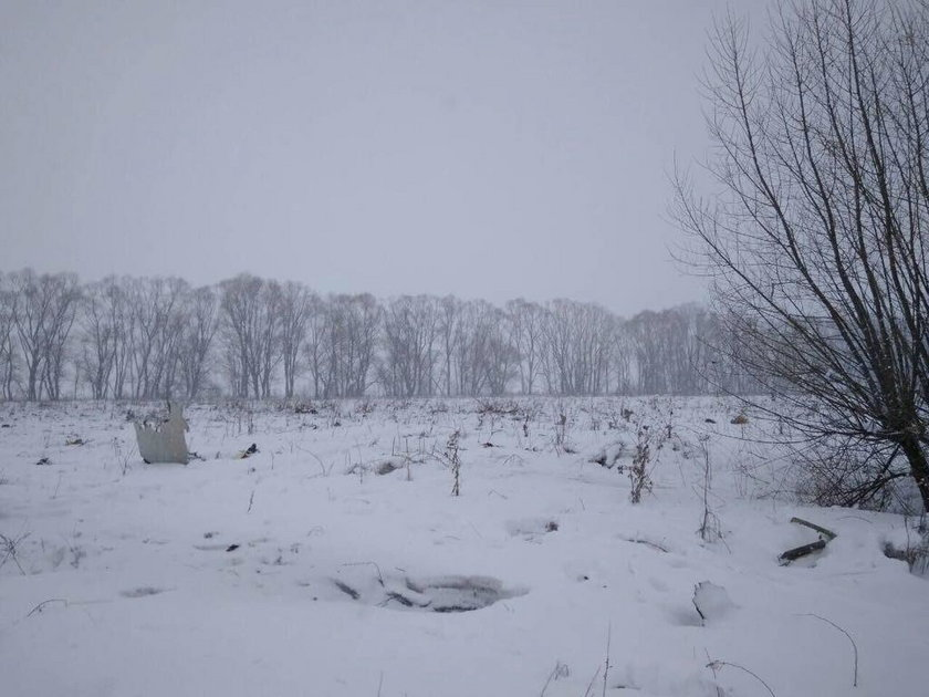 A view shows a scene where a short-haul regional Antonov AN-148 crashed after taking off from Moscow