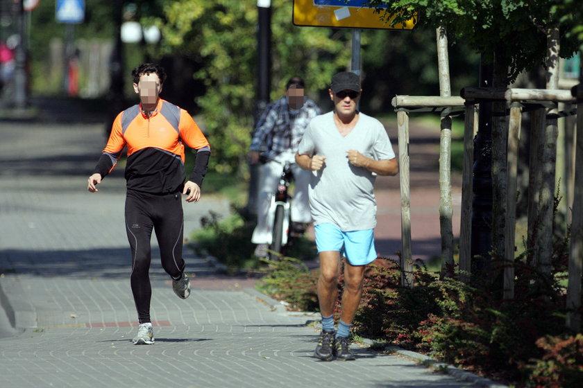 Premier Donald Tusk podczas joggingu