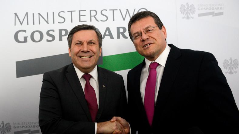 Janusz Piechociński i Marosz Szefczovicz