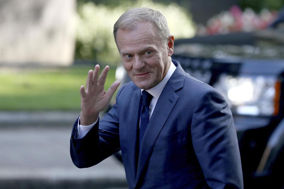 European Council President Donald Tusk arrives in Downing Street in London
