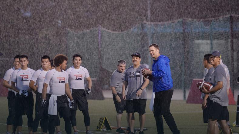 Tom Brady na treningu w Chinach