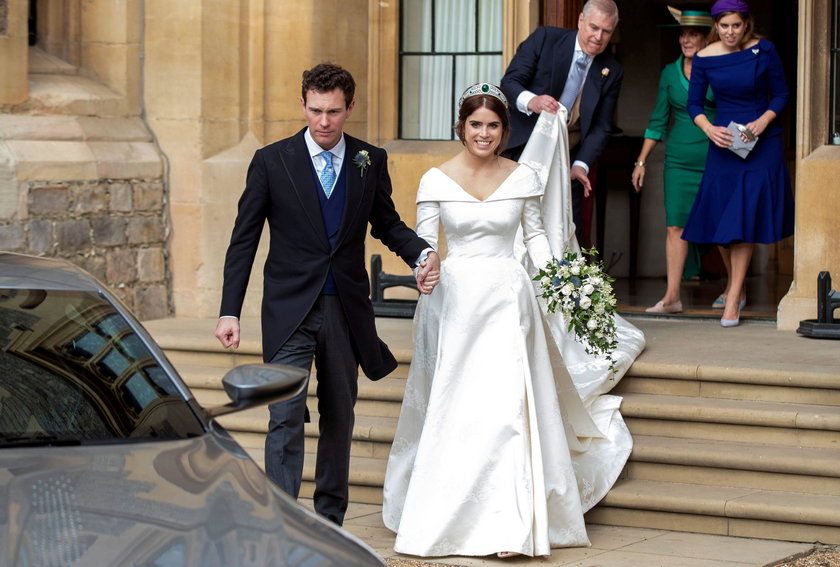 FILE PHOTO: Princess Eugenie and Jack Brooksbank leave Windsor Castle after their wedding for an eve