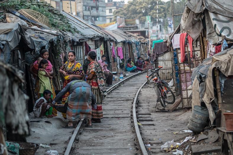 People living on train rail in Bangladesh