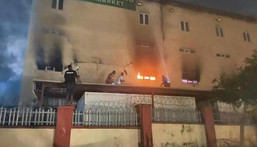 Ebeano supermarket on fire on July 17, 2021 (Daily Post)
