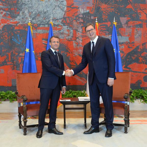 Emanuel Makron i Aleksandar Vučić