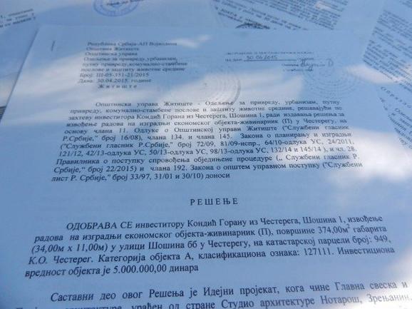 Kovačević je dobio rešenje od opštine kojim se odobrava izgradnja objekta koji je sada predet rasprave