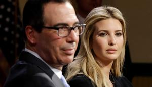 Ivanka Trump, daughter and advisor to President Donald Trump, and Treasury secretary Steven Mnuchin listen at an event in Derry, N.H., on April 17, 2018.