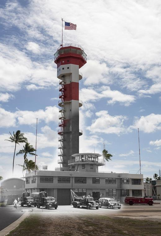 A view of the historic Ford Island control tower from 1941. The tower was once used to guide airplanes at the airfield on the island. It is now an aviation library.
