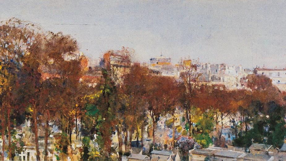 """Julian Fałat, """"Cmentarz Montmartre w Paryżu"""" (1893)"""