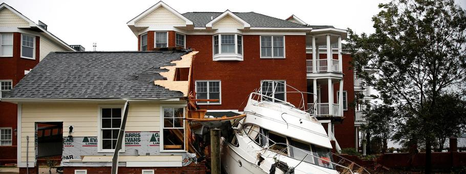 Boat sits in backyard after Hurricane Florence in New Bern, North Carolina