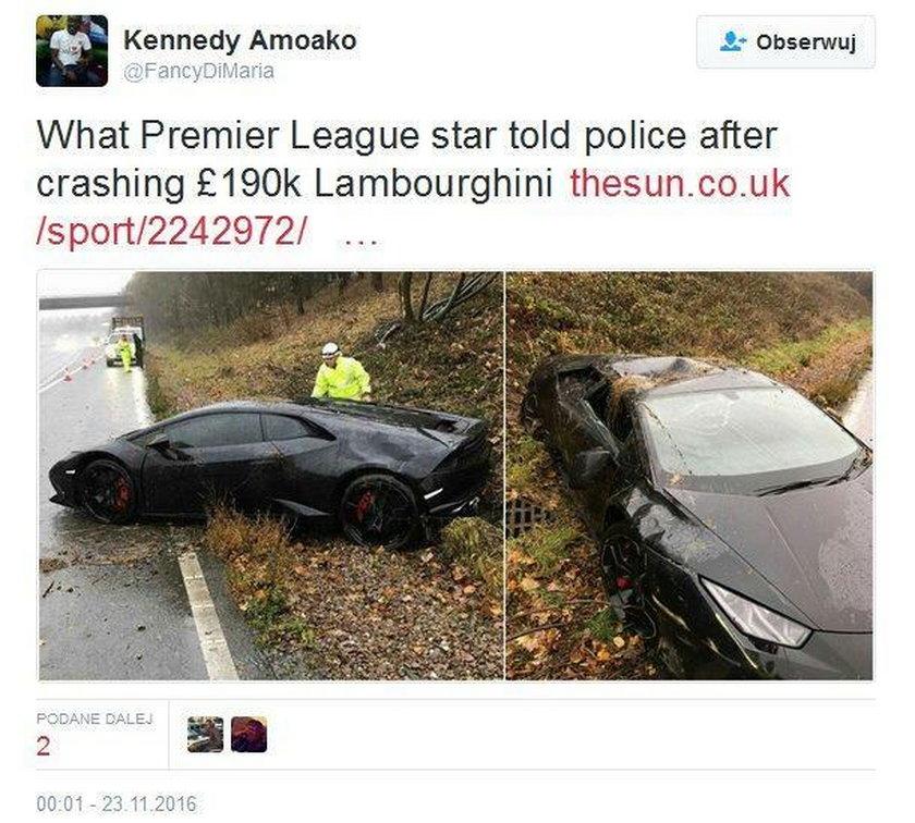 Jeffrey Schlupp rozbił Lamborghini za prawie milion i zadziwił policję