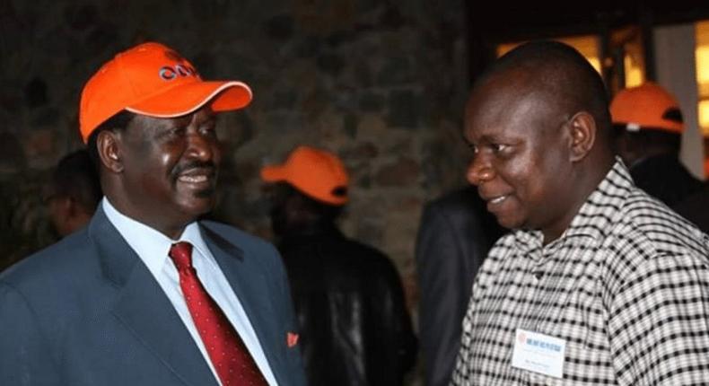 ODM leader Raila Odinga and Philip Etale