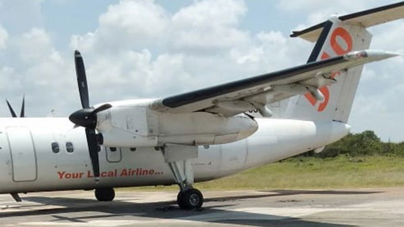 Scare as Fly540 plane gets stuck in pothole during take off at Manda Airport, Lamu