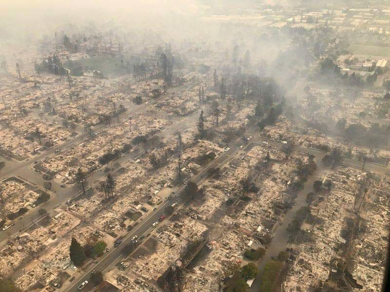 Handout photo of an aerial photo of the devastation left behind from the North Bay wildfires north o