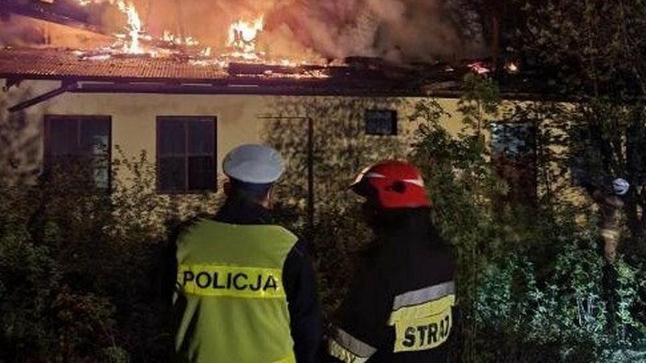 Pożar pustostanu w Bielsku-Białej
