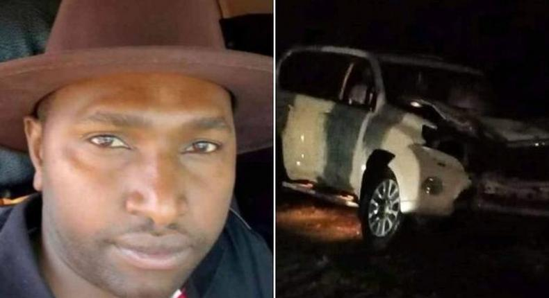 A side-by-side image of Jubilee Nominated Senator Victor Prengei and his vehicle following a road accident.