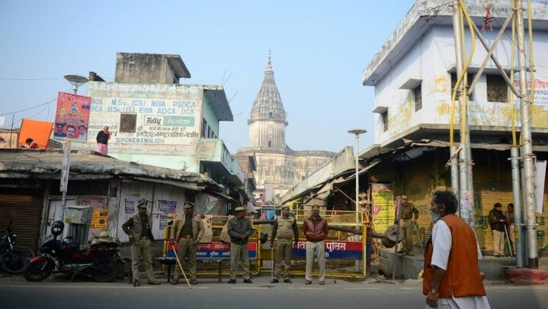 Police in Ayodhya were seen checking vehicles and stopping some passers-by for questioning as they sought to prevent any flare-up in violence