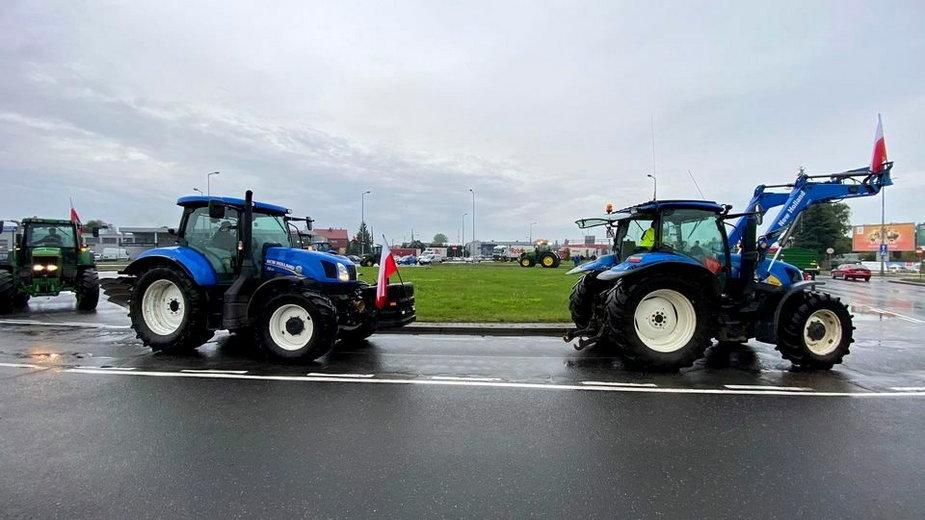 Traktory zablokowały rondo Kasprzaka w Gorzowie