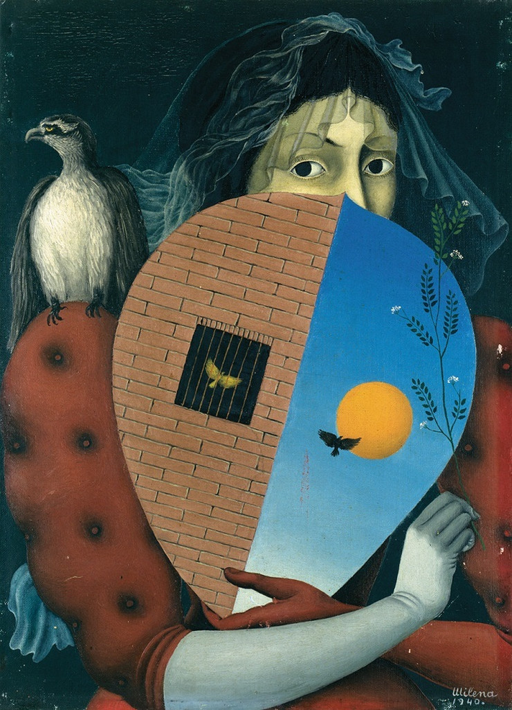milena pavlovic barili Autoportret sa štitom i orlom