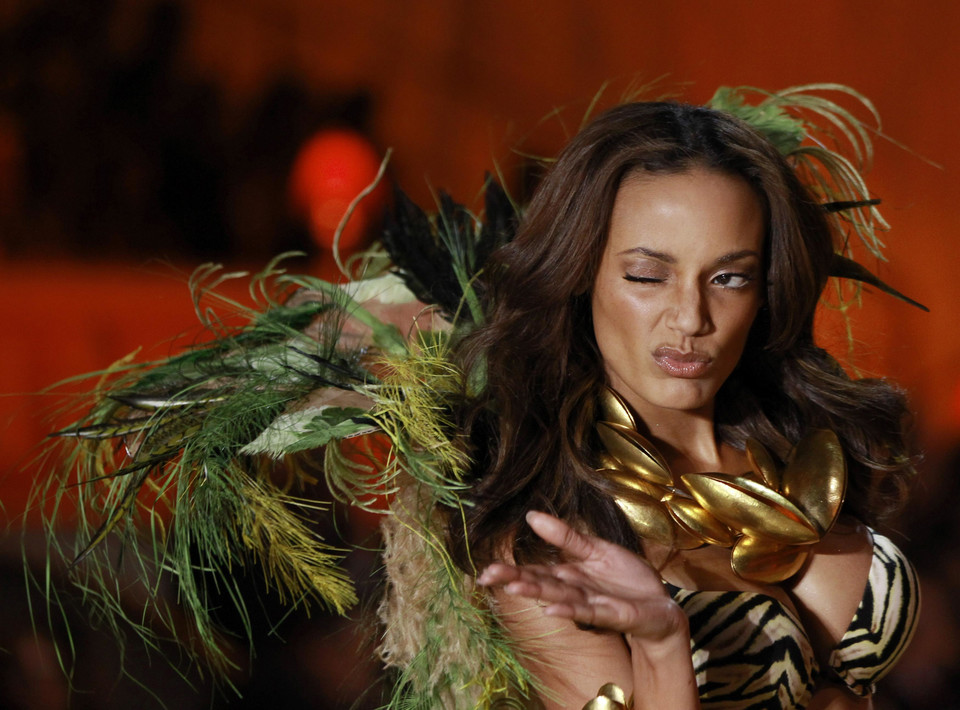 odel Selita Ebanks presents a creation during the Victoria's Secret Fashion Show in New York