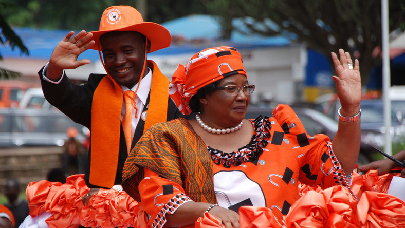 Joyce Banda  and her runningmate Sosten Gwengwe soon after JB presented presidential nomination papers.
