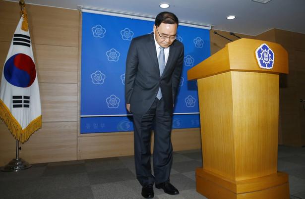 Premier Korei Południowej Chung Hong-won na konferencji. Fot. EPA/YONHAP/PAP/EPA