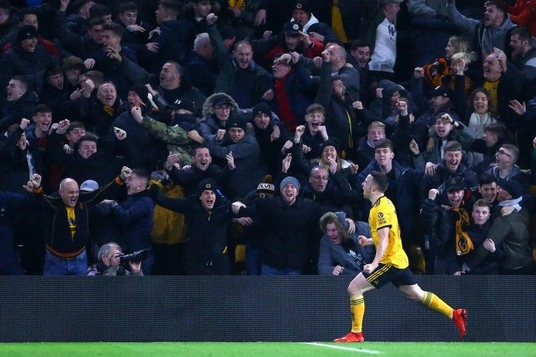 Wolves' Diogo Jota celebrates his side's winner against Chelsea