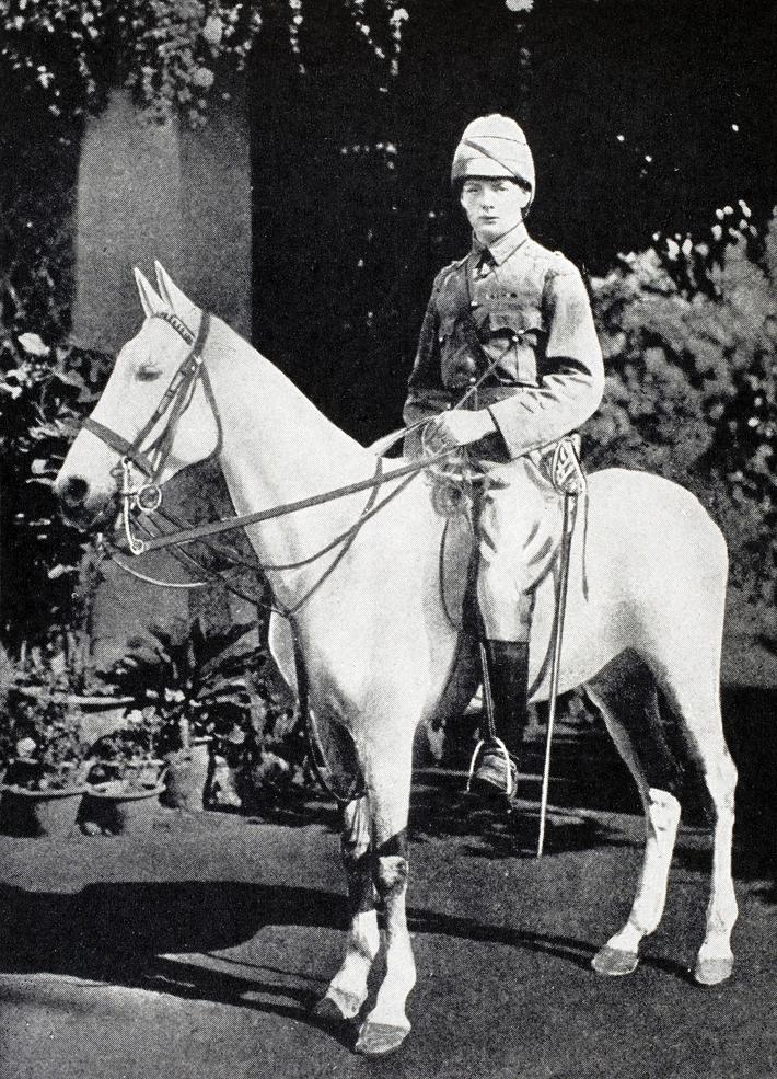 Winston S. Churchill 1874 to 1965 on horseback in Bangalore India in 1897 from A Roving Commission b