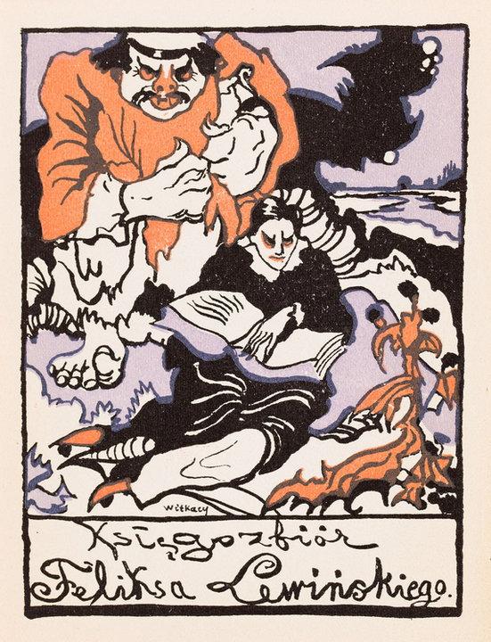 """Wystawa i aukcja """"Grafika artystyczna. Sztuka Dawna"""". Stanisław Ignacy (Witkacy) Witkiewicz, """"Ekslibris Feliksa Lewińskiego"""" (ok. 1917)"""