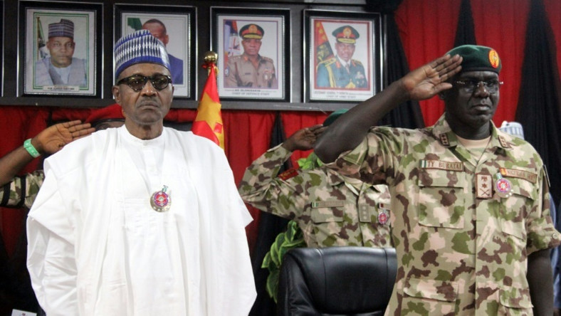 Commander-in-Chief Muhammadu Buhari and Army Chief Tukur Buratai (Presidency)
