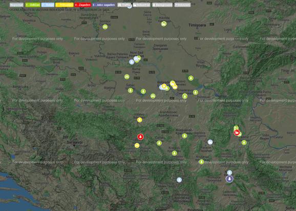Današanja mapa zagađenja bolja je nego prethodnih dana, ali je zato u Nišu danas vazduh najzagađeniji