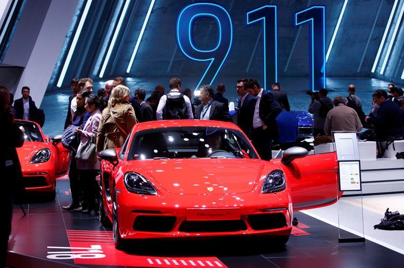 A new Porsche 718 Cayman T is displayed at the 89th Geneva International Motor Show in Geneva, Switzerland March 5, 2019.